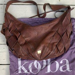 KOOBA Large Saddle Brown Leather Hobo Purse